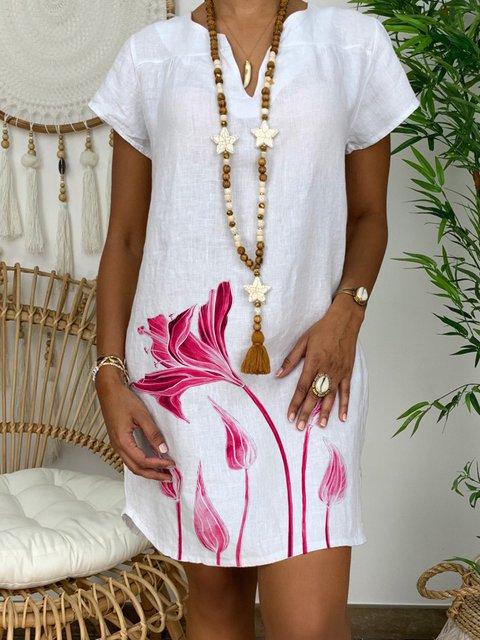 V Neck Women Dresses Daily Floral-Print Floral Dresses