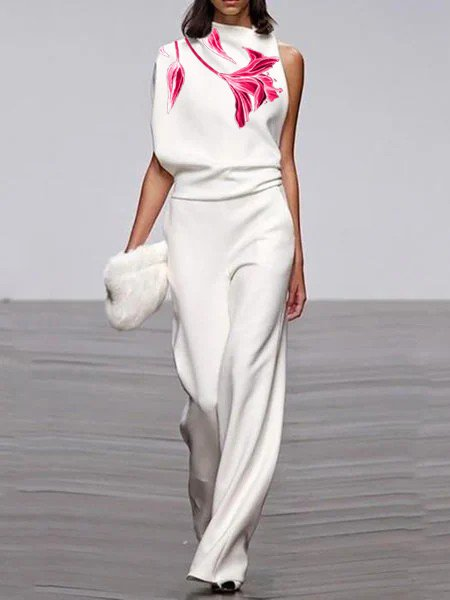 Flower print fashionable jumpsuit