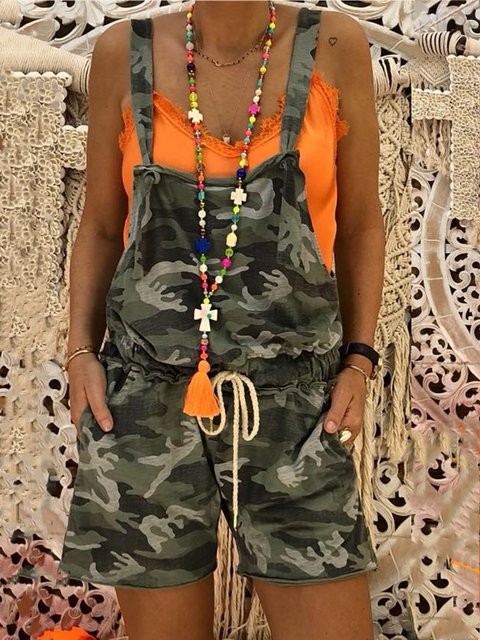 Camouflage Printed Casual Sleeveless Pockets Jumpsuits