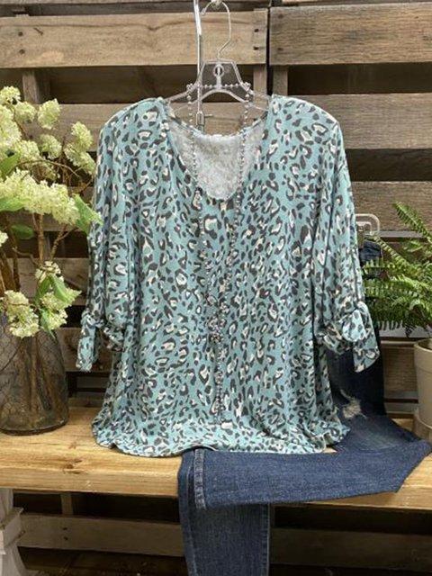 Blue V Neck Long Sleeve Printed Tops