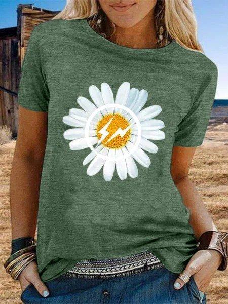 Vintage Short Sleeve Flowers Printed Plus Size Casual Tops