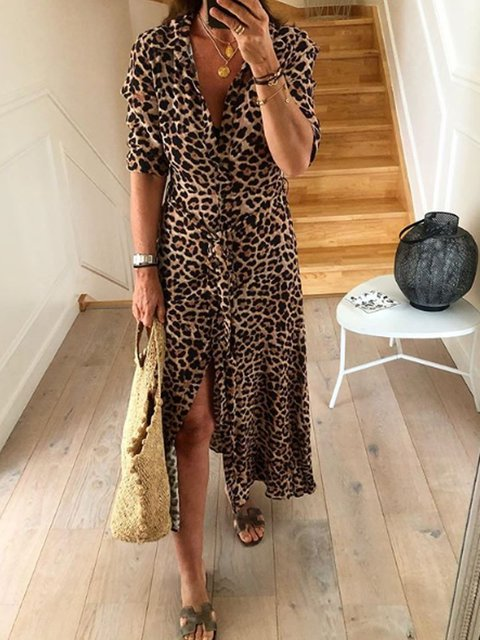 Leopard Printed Casual Shirt Collar Patchwork Dresses