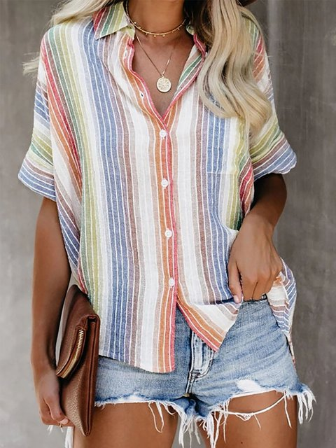 Casual Striped Short Sleeve V Neck Tops