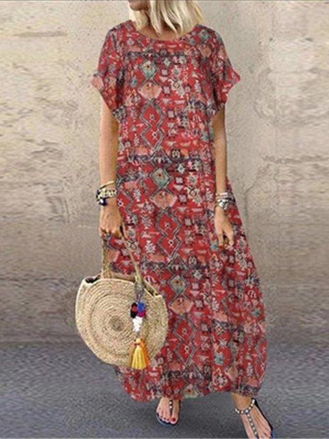 Crew Neck Women Dresses Cotton-Blend Tribal Dresses
