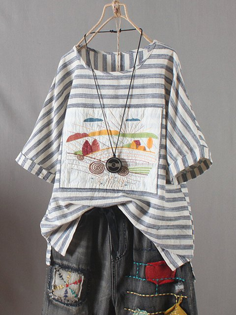 Blue Casual Striped Cotton Round Neck Shirts & Tops