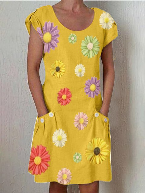 Crew Neck Yellow Women Dresses Casual Floral Dresses
