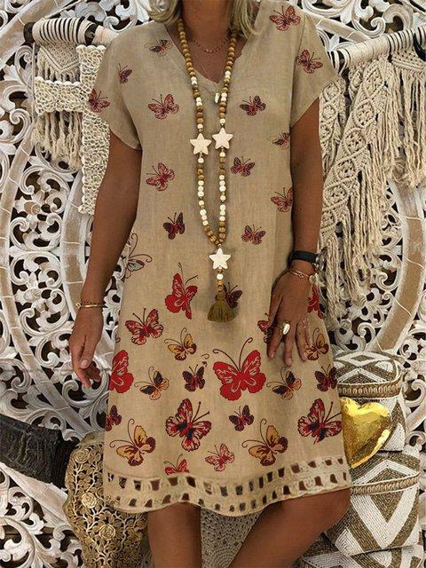 Summer Printed Mini Dress Women Short Sleeve Dresses