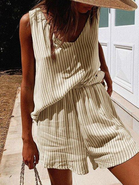 Beige Printed Sleeveless Suits