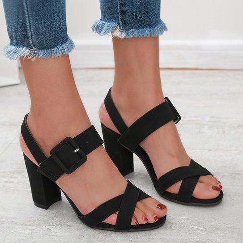 Open Toe Adjustable Buckle Chunky Heel Sandals