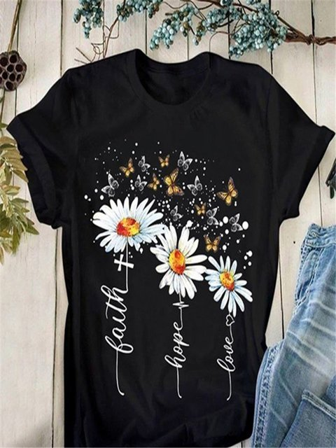 Casual Floral Crew Neck Short Sleeve Shirts & Tops