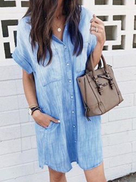 Shirt Collar Blue Women Dresses Casual Dresses