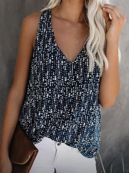 Sleeveless V Neck Casual Patchwork Shirts & Tops