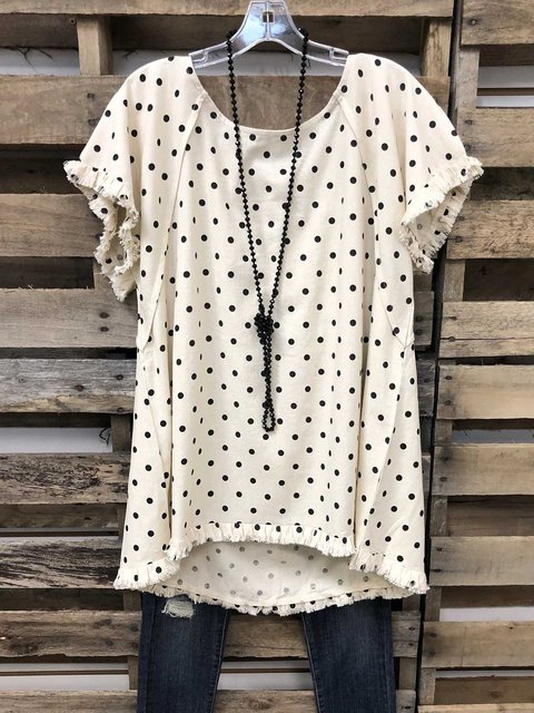 Polka Dots Crew Neck Short Sleeve Tops