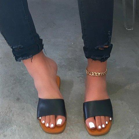 Women Solid Flat Heel Pu Slip Ons Slippers