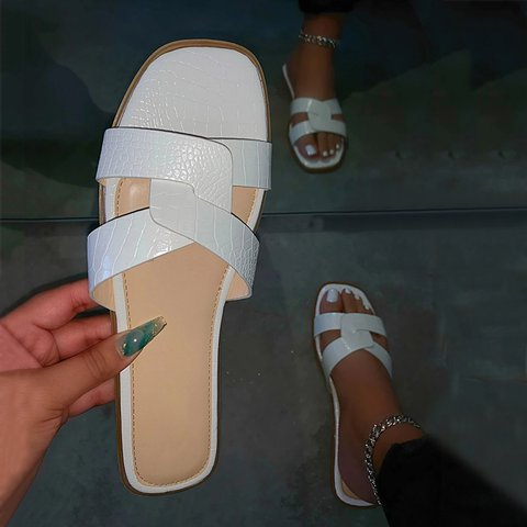 Artificial Leather Slides Flat Heel Open Toe Slippers