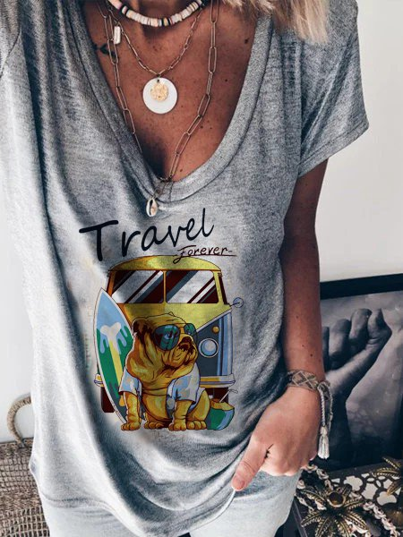 Cotton-blend casual top printed T-shirt