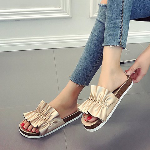 Women Slide Open Toe Cork Slippers Flat Heel Pu Daily Shoes
