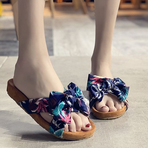 Women Peep Toe Printed Slide Cloth Daily Slippers
