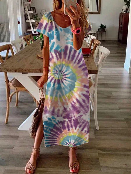 Multicolor Women Dresses Daily Casual Ombre/tie-Dye Dresses