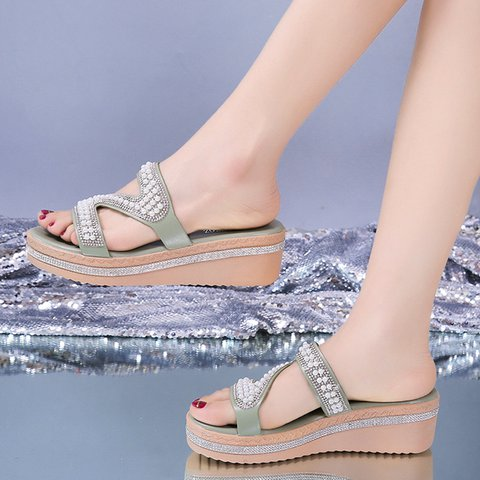 Slip-On Open Toe  Pearl Wedges Slippers