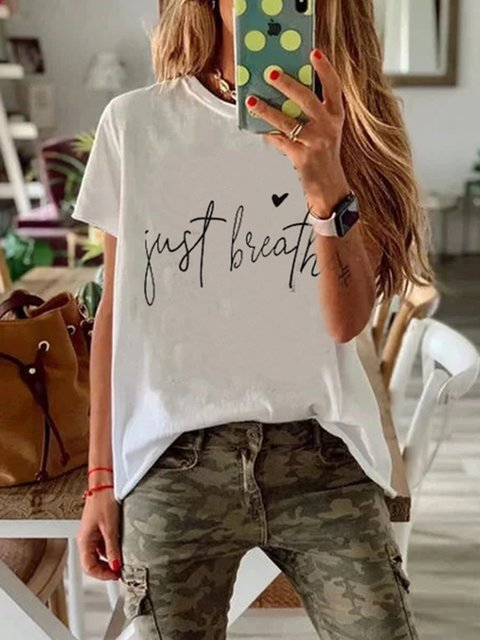 Casual Letter Printed Short Sleeve T-Shirts
