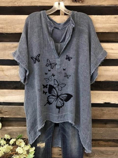 Casual retro butterfly print bat sleeve irregular short sleeve top