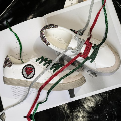 White Round Toe All Season Flat Heel Lace-Up Pu Daily Sneakers