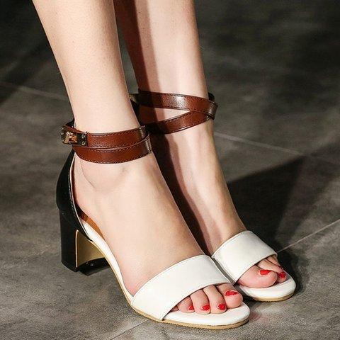 Chunky Heel Adjustable Buckle Open Toe Sandals Women Casual Heels
