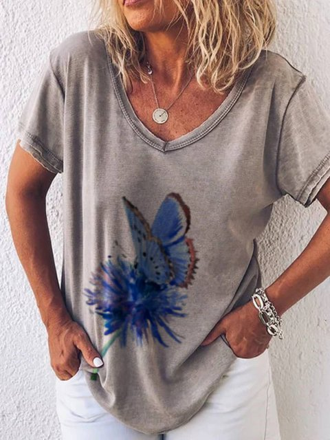 Floral Short Sleeve Casual Printed  Tops