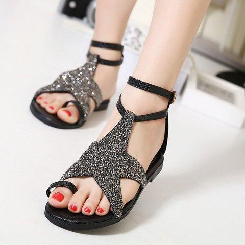 Women Thong Sandals Flat Heel Pu Spring Rhinestone Shoes