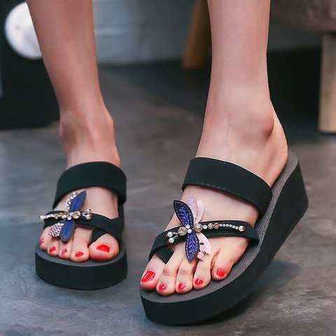 Black Rhinestone Platform Flip Flop Stylish Slippers