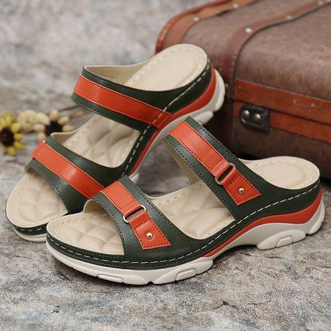 Pu Color Block Low Heel Plus Size Slippers