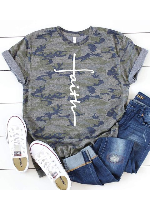 Faith Printed Camouflage T-shirt