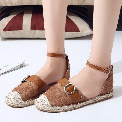 Women PU Buckle Strap Daily Round Toe Summer Flat Heel Sandals