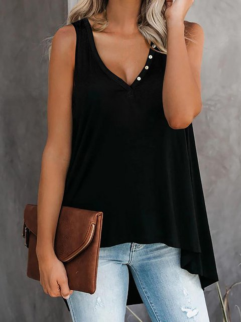 Casual V Neck Sleeveless Shirts & Tops