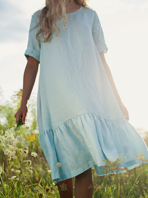 Loose Casual Cotton Linen Midi Dress