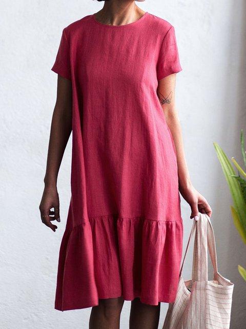 Loose Casual Cotton Linen Frill Midi Dress
