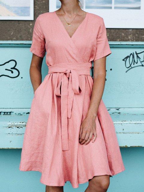 V-neck Wrap Casual Cotton Linen Dress