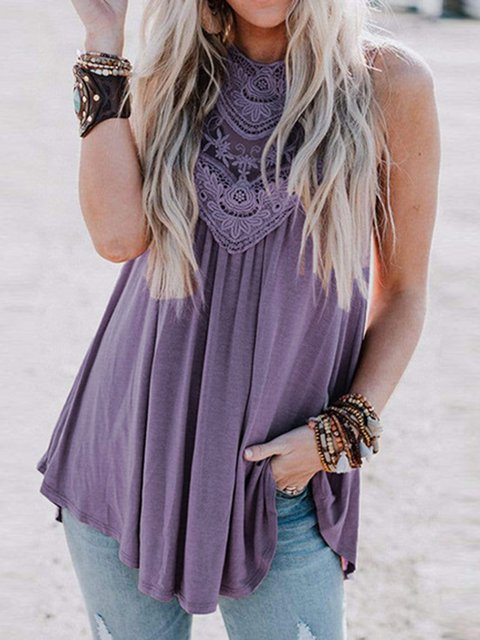 Loose outer wear lace flower panel stitching round neck vest top