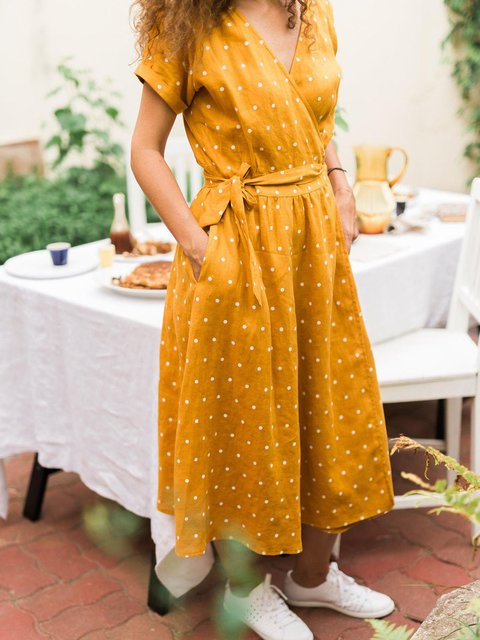 Polka Dot V-neck Casual Wrap Linen Dress