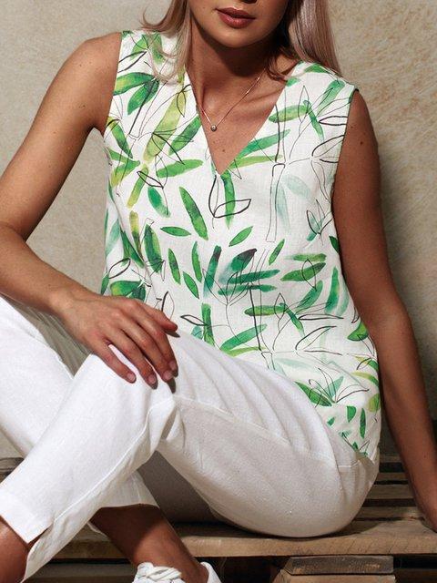 V-neck Sleeveless Bamboo Pattern Linen Tank Top