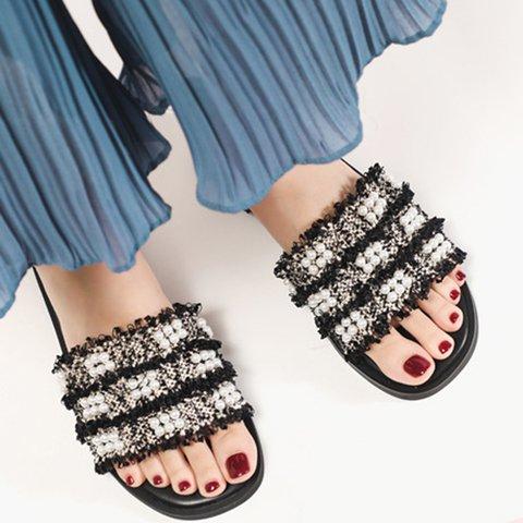 Women Slide Peep Toe Low Heel Pearl Microfiber Leather Fall Sandals
