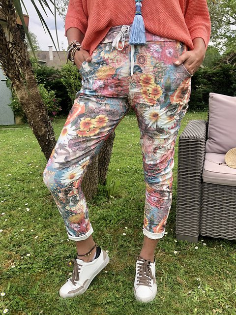 Women Flower Printed Pants Tapered Trousers