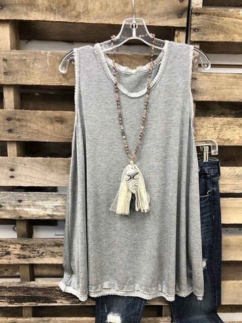 Gray Sleeveless Solid Round Neck Tops