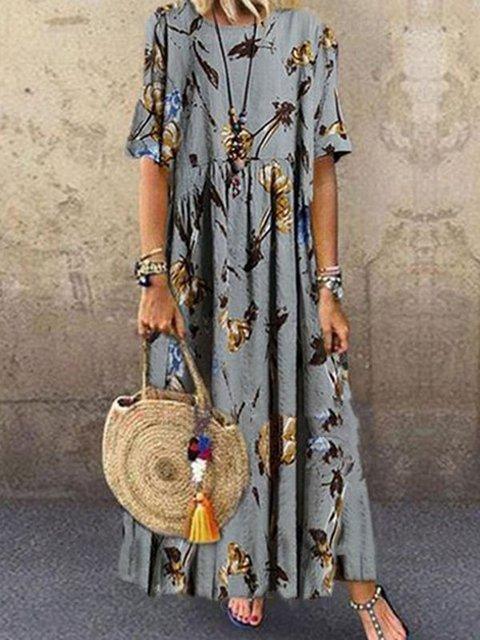 Crew Neck Gray Women Dresses Casual Floral-Print Dresses