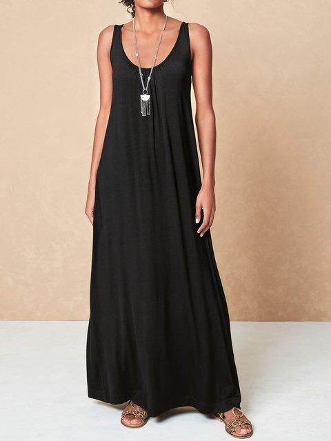 Solid Sleeveless Maxi Dress Women Summer Dresses