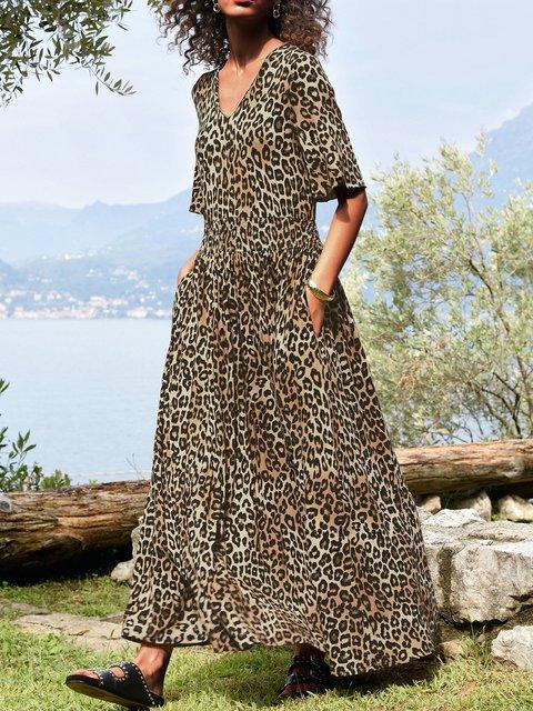 V-neck ladies dress A-Line casual leopard print maxi skirt