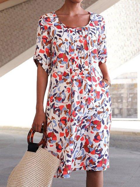 Floral daily dress mid-length pocket dress