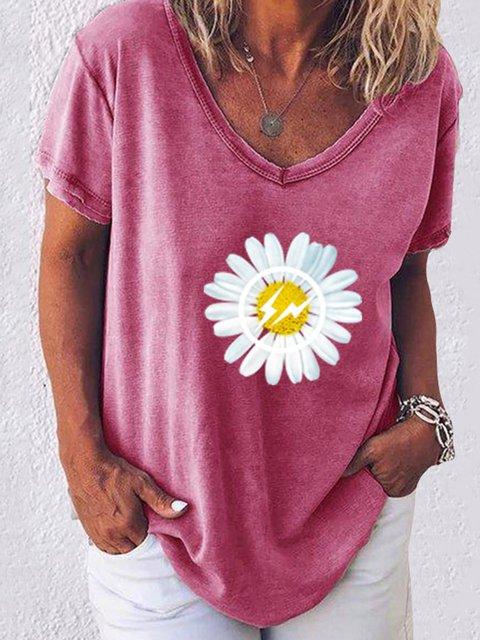 Casual Short Sleeve Printed T-Shirts