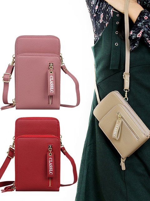 Zipper Multi-pocket Phone Purse Money Clips Card Holder Crossbody Wallet